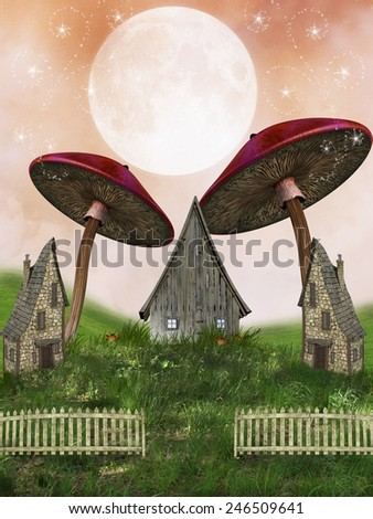Fantasy fairy Landscape in a field mushrooms - stock photo