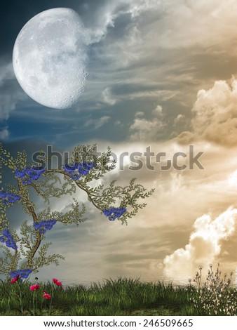Fantasy fairy Landscape in a lake - stock photo