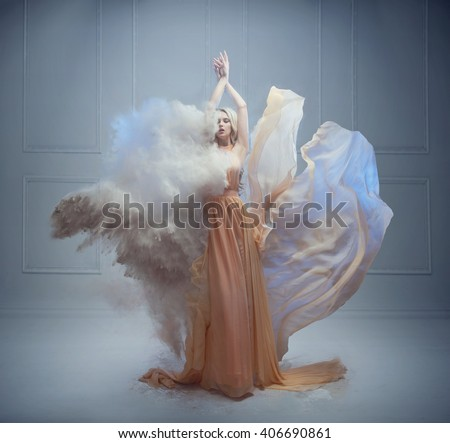Fantasy fashion style image of a stunning blonde beauty - stock photo