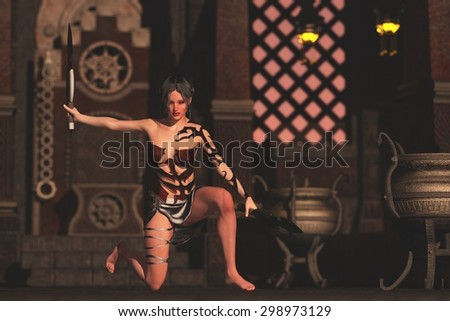 Fantasy female knife fighter kneeling with ornate throne in background and wielding twin knives