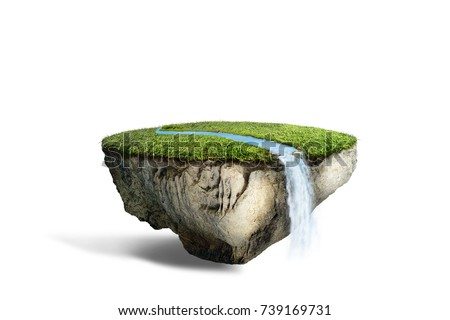 fantasy floating island with river stream on green grass isolated on white, surreal float landscape with waterfall paradise concept 3d illustration