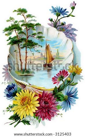 Fantasy floral bouquet - circa 1890 greeting card illustration - stock photo