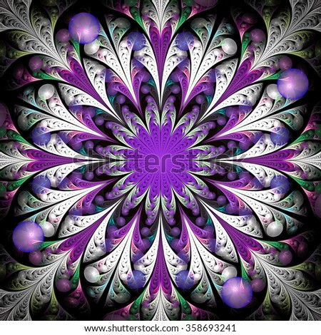 Fantasy flower with purple center. Abstract psychedelic mandala on black background. Symmetrical pattern. Computer-generated fractal in white, green, pink, violet, grey and black colors. - stock photo