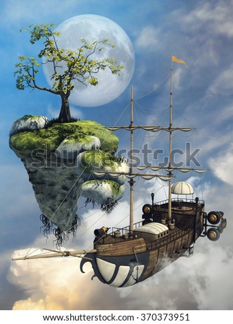 Fantasy flying ship and a floating island above the clouds - stock photo
