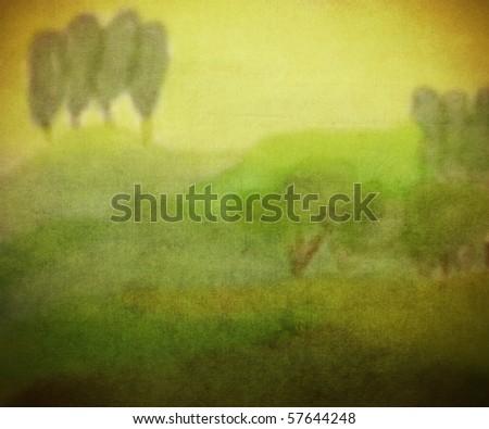 fantasy forest illustration - stock photo
