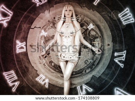 Fantasy futuristic� woman exists wires connected to clockwork.  time. moving from past to future