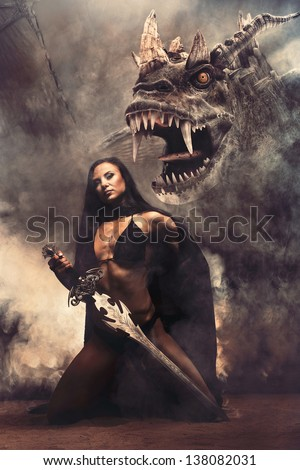 Fantasy Girl with Dragon