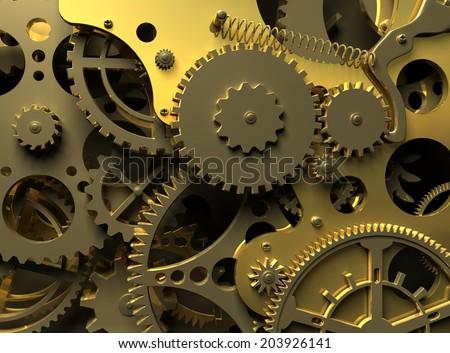Fantasy golden clockwork. Industry background - stock photo