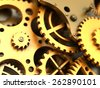 Fantasy golden clockwork or part of any machine. Closeup gears. Industrial 3d illustration. - stock