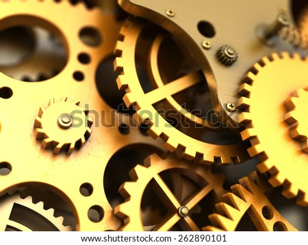 Fantasy golden clockwork or part of any machine. Closeup gears. Industrial 3d illustration. - stock photo