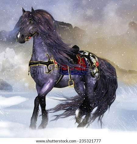 Fantasy horse equine wall art greeting stock illustration fantasy horse equine wall art or greeting card voltagebd Images