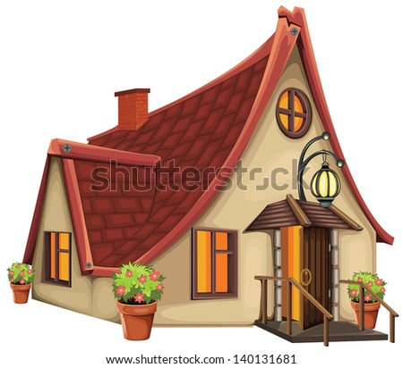 Fantasy House bitmap copy - stock photo