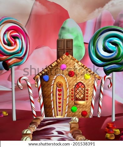 Fantasy house in a candy land - stock photo