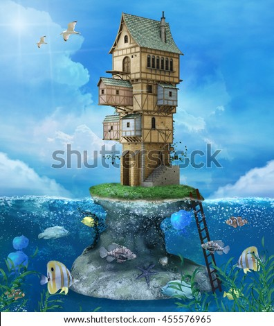 Fantasy house on a rock in the middle of the sea - 3D illustration