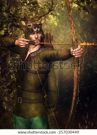 Fantasy hunter wearing a deer helmet and holding a bow and fiery arrow - stock photo