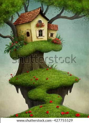 Fantasy illustration for greeting card or  poster with  house on  tree - stock photo