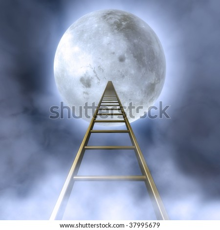 Fantasy Illustration of a cloudy night sky with a stair towards the moon - stock photo