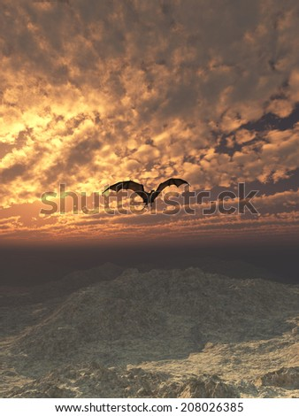Fantasy illustration of a dragon flying over snowy mountains against a cloudy sunset sky, 3d digitally rendered illustration - stock photo