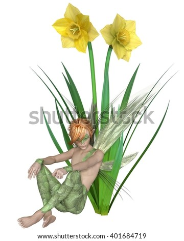 Fantasy illustration of a fairy boy sitting with yellow spring daffodils, digital illustration (3d rendering)