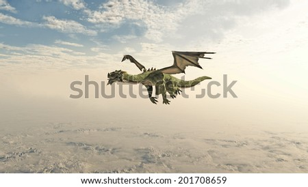 Fantasy illustration of a green dragon flying through clouds over high mountains, 3d digitally rendered illustration - stock photo