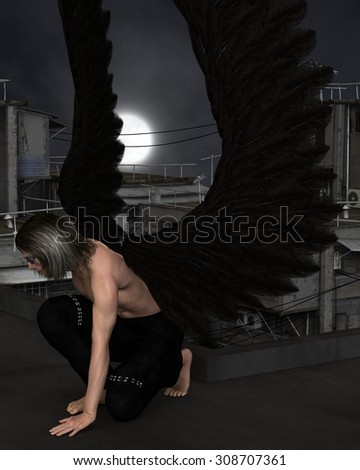 Fantasy illustration of a male urban guardian angel kneeling on a city rooftop on a dark night with full moon, 3d digitally rendered illustration