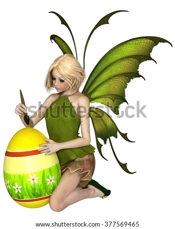 Fantasy illustration of a pretty blonde fairy dressed in green, painting an easter egg with daisies, 3d digitally rendered illustration