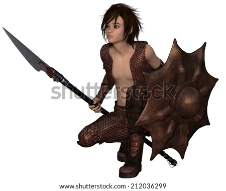 Fantasy illustration of a warrior elf boy wearing bronze dragon scale armour and holding a spear and shield, crouching down, 3d digitally rendered illustration - stock photo