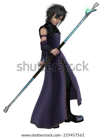 Fantasy illustration of a young male elven sorcerer in purple velvet robes, carrying a magic staff, 3d digitally rendered illustration - stock photo