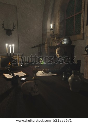 Fantasy illustration of an Alchemist researching a potion in his study, digital illustration (3d rendering)