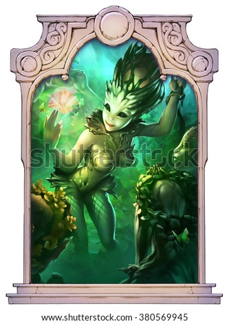 Fantasy illustration of magic dryad creatures framed with a stone decorated hand drawn arch - stock photo