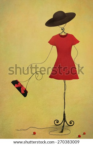 Fantasy illustration or postcard with a mannequin in red dress and hat - stock photo
