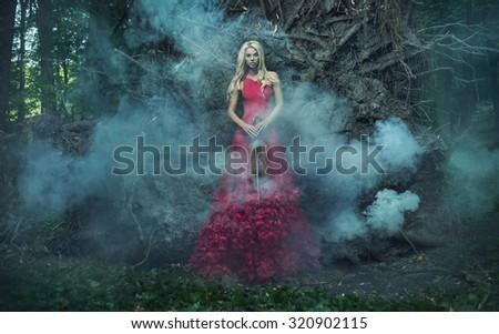 Fantasy image of a beautiful blonde - stock photo