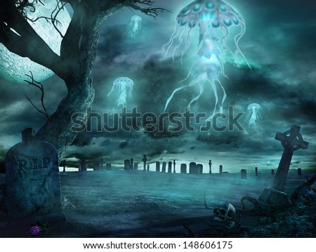 Fantasy jellyfish flying over cemetery