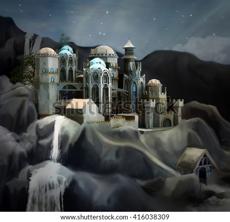 Fantasy kingdom - 3D and digital painted illustration - stock photo