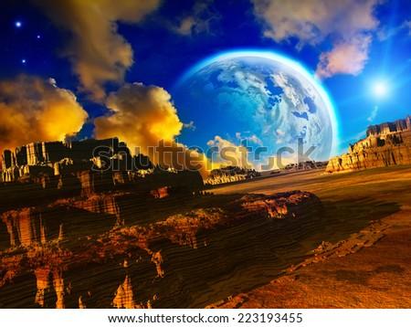 Fantasy landscape - stock photo