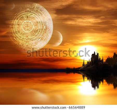 Fantasy landscape and Maya calendar - stock photo