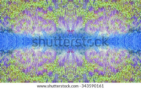 Fantasy landscape firework like pattern with double reflections in blue, green and violet with grass and bushes.  Infra red effect. Strange  faces can be seen in the blue grass. Background or border.