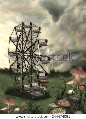 Fantasy Landscape in a field with mushroom and wheel - stock photo