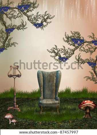 fantasy landscape in the garden with armchairs - stock photo