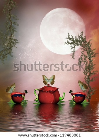 Fantasy Landscape in the lake with teapot and cup - stock photo