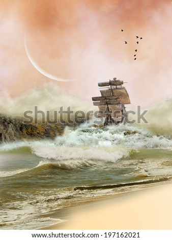 Fantasy Landscape in the ocean with boat