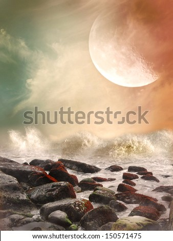 Fantasy landscape in the ocean with rocks