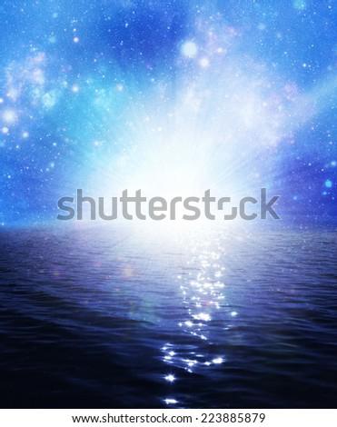 Fantasy landscape. Universe at water reflection. - stock photo