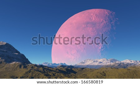 Fantasy landscape with a huge planet on blue sky background - stock photo