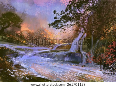 fantasy landscape with beautiful waterfall.digital painting - stock photo
