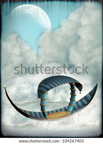 Fantasy Landscape with boat and big moon - stock photo