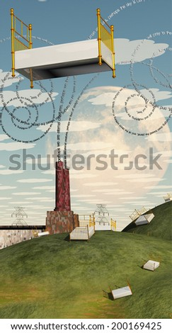 Fantasy Landscape with Floating Bed and factory with text billowing from chimney Text is my own creation - stock photo