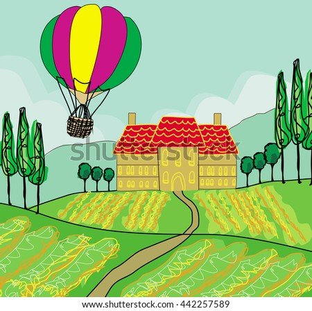 Fantasy landscape with hot air balloons  - stock photo