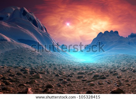 Fantasy landscape with mountains - stock photo