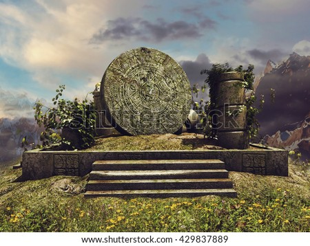 Fantasy landscape with ruins of an ancient Mayan temple. 3D illustration. - stock photo